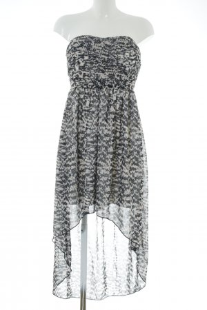 Vila Jurk met langere achterkant zwart-wit abstract patroon feest stijl