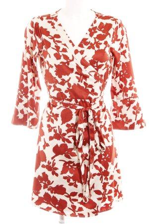 Vila Wickelkleid wollweiß-rostrot florales Muster extravaganter Stil
