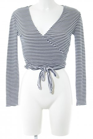 Vila Wraparound Shirt black-white striped pattern casual look