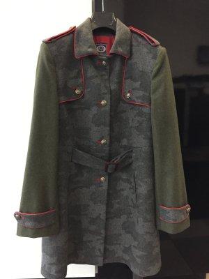 VILAGALLO Military-Mantel in grau/graugrün mit roten Absetzungen