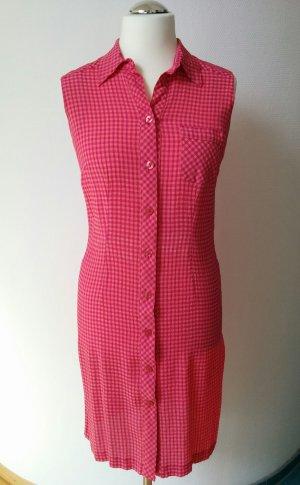 Vilona Moda Sommerkleid Hemdblusenkleid Rockabilly Kariert Orange Pink luftig pflegeleicht armfrei Gr. 38