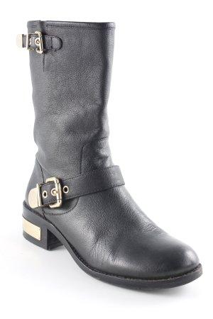 Vince Camuto Ankle Boots schwarz-goldfarben Biker-Look