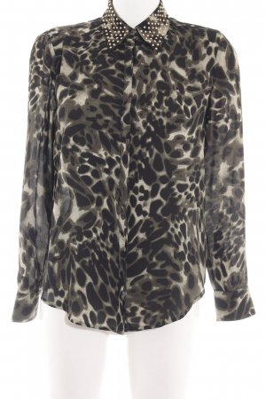 Vince Camuto Langarm-Bluse khaki-schwarz abstraktes Muster Elegant