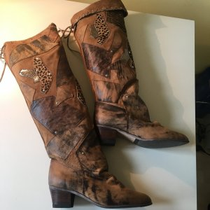 Botas sobre la rodilla beige-marrón Cuero