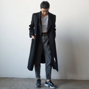 vintage 1980s classic double breasted black oversized over coat.