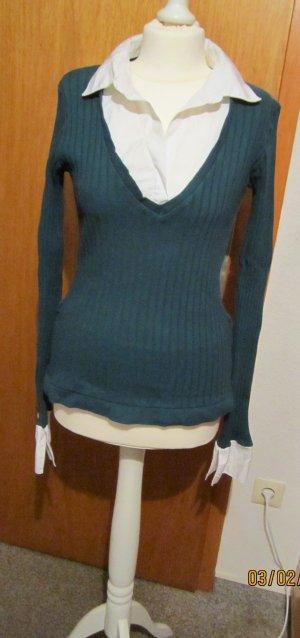 Vintage 2in1-Style-Rippenstrick-/Blusenpullover*CLOCKHOUSE*grün/weiß-Gr.L-70's
