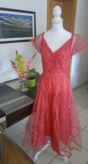 Vintage 30s Kleid tüll seiden tafft antik