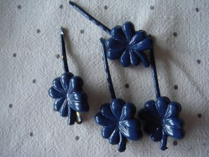 Vintage Haarklem donkerblauw kunststof