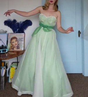 Vintage 40s Kleid 2 in 1 doppellagig Grün trägerlos