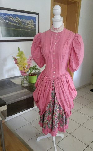 Vintage 40s Kleid cancan Dirndl Halloween Spitze rüschen floral