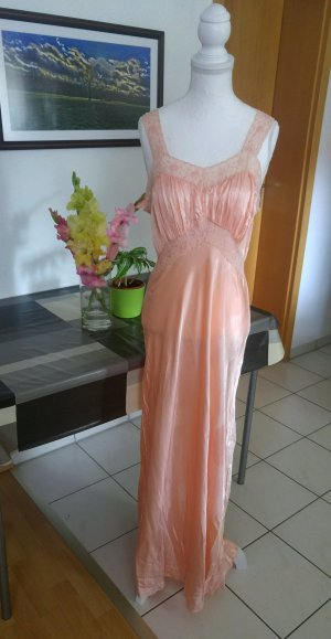 Vintage 40s Kleid Nachthemd negligée seiden satin spitze