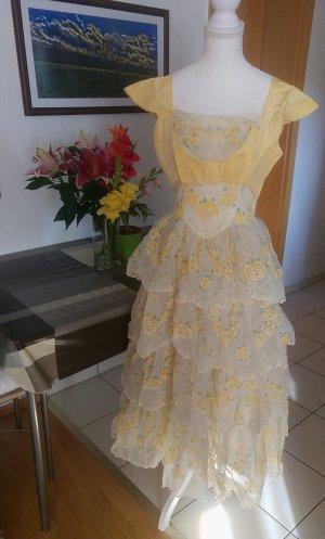 Vintage Abito da ballo giallo pallido-giallo chiaro