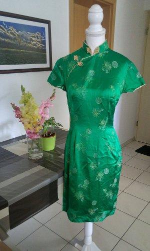Vintage 50s Kleid Chinesisch aus Seide kragen