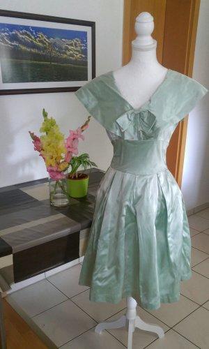 Vintage 50s Kleid seiden Satin tüllrock bubikragen