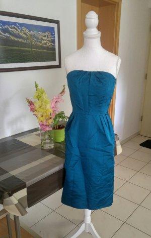 Vintage 50s Kleid wiggle seiden tafft petrolblau trägerlos