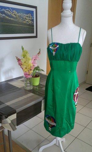 Vintage 50s Kleid wiggle strass aufnäher pailetten Designer seiden satin