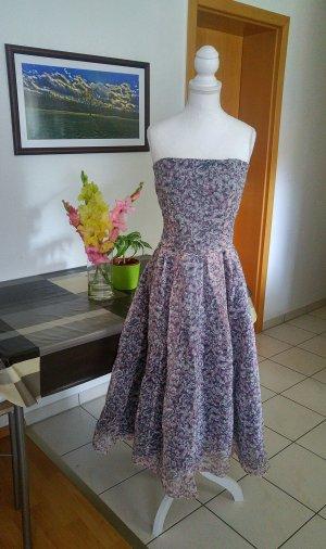 Vintage 50s organza tüll kleid trägerlos floral