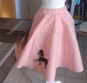 Vintage Falda circular negro-rosa claro