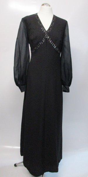 Vintage 60er 70er Maxikleid Größe 42 XL Schwarz Perlen Pailetten bestickt Kleid V-Neck Abendkleid Boho Elegant Chiffon Ballonärmel
