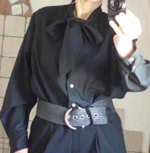Vintage Blusa collo a cravatta nero Fibra sintetica