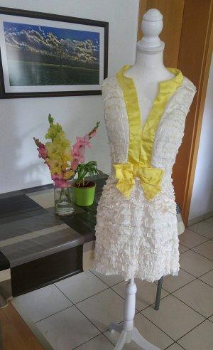 Vintage 60s Couture Kleid seiden satin rüschen volants
