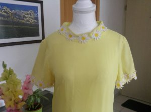 Vintage 60s Kleid Leinen daisy gänseblümchen floral cape