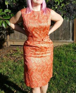 Vintage 60s Kleid Orange mit Gold und Schleife Gürtel party