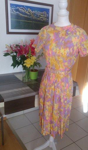 Vintage 60s Kleid plissee faltenrock gürtel Pastell lolita schleife designer