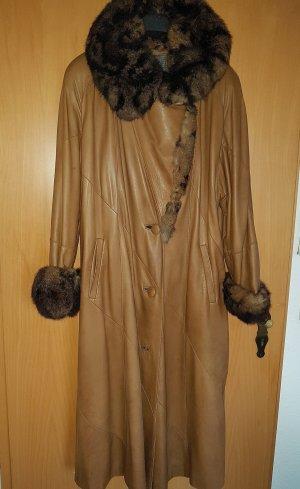 One vintage Cappotto in pelle marrone chiaro