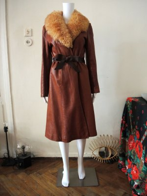 Vintage 70s Mantel Ledermantel Leather Coat m. Gürtel Lammfellkragen Boho Hippie