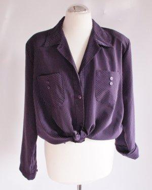 Vintage 80er Bluse Schwarz Lila Größe: 42 44 XL Rockabilly Hemd Streifen Punk Blogger Grafik Theorie