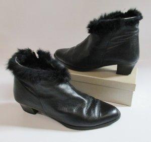 Vintage 80er Elegante Stiefeletten Young Fashion Größe 40 Schwarz Fake Fur Rand Schuhe Boots Stiefel