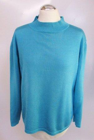 Vintage 80er Feinstrick Pullover Größe 42 Perlglanz Blau Grün Petrol Aqua Turtelneck Stehkragen Strick Pulli Kasten Viskose Baumwolle