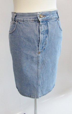 Vintage 80er Jeansrock sexy Minirock Top-In Größe 42 L Washed Out Moonwashed Blau Denim Pencil Skirt