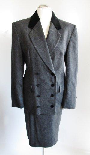 Vintage 80er Kostüm Blazer Rock Größe M 40 Schurwolle Kaschmir Chasmere Samt Viskose Grau Schwarz Doppelreiher Business Pencilskirt Jacke