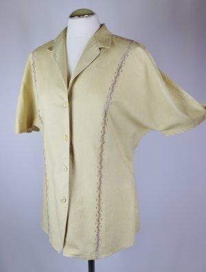 Vintage Blouse en lin multicolore tissu mixte