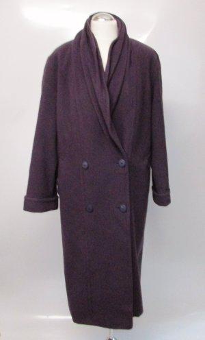 Vintage 80er Mantel Schalkragen CANDA Größe M 38 40 Kürzgröße 19 Oversize Wollmantel Lila Doppelreiher Eggshape