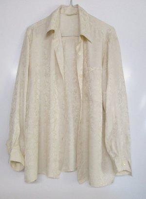 Vintage 80er Paisley Seiden Bluse Größe L 42 Creme Wollweiß Tunika Muster Glanz Hemd