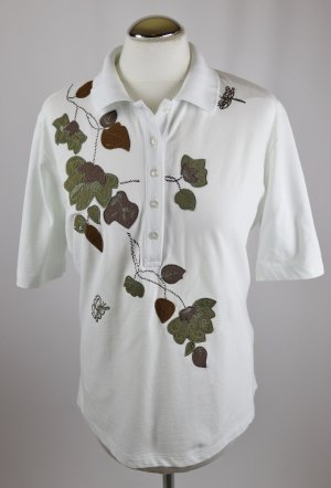 Vintage 80er Poloshirt Shirt Golf Größe 44 42 L Pikee Blätter Applikation Hemd Sport