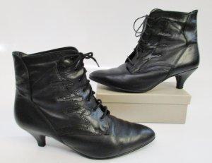 Vintage 80er Stiefel Spitz Größe 41 Schwarz Leder Hexenstiefel Penny Stiefeletten Schnürstiefel Kroko Muster Schuhe