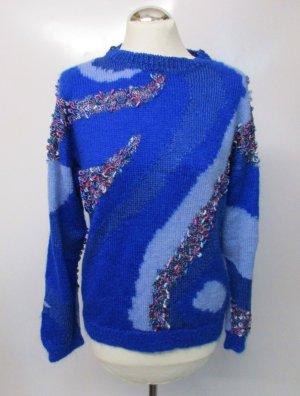 Vintage 80er Strick Pullover Größe 38 Blau Hellblau Lila Welle Perlgarn Effektgarn Lurex Flausch Pulli Strickpullover Oversize
