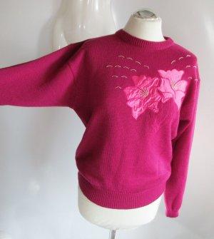 Vintage 80er Strick Pullover M 38 Pink Rosa Blumen Applikation Kurz Pulli Perlen Stickerei Blogger Kastenpulli Oversize