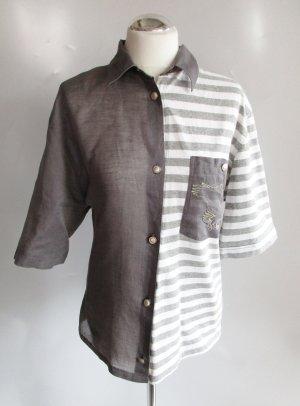 Vintage 80er Twotone Leinen Bluse Otto Oversize Kern Größe 3 L 42 Grau Jersey Meliert Adler Stickerei Hemd Kurzarm
