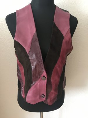 Leather Vest brown red-brown