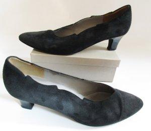 Vintage 80er Wildleder Pumps Gabor fashion Größe 7 40 41 Schwarz Zipfel Zacken Flammen Spitze Gothik Schuhe Nubuk