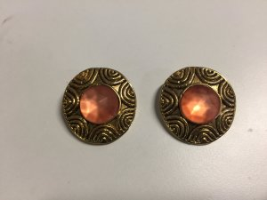 Earclip gold-colored-apricot metal