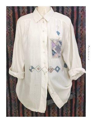 Vintage 80s 100% Seide Silk Bluse Hemd Muster Hipster Pünktchen weiß