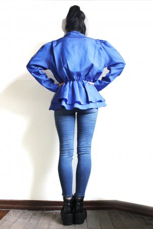Vintage 80s Blouse With Back Ruffles