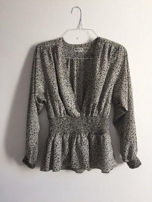 Vintage 80s Bluse mit Muster und tiefen Ausschnitt geraffte Taille