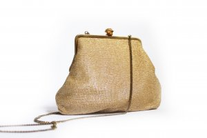 Vintage 80s Gold Clasp Purse with Chain